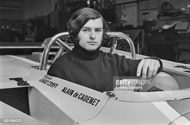 Racing driver Alain De Cadenet with the Duckhams LM1 racing car built for him and his team-mate Chris Craft, UK, 20th June 1973.