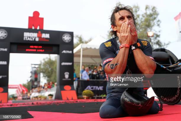 Bianca Steurer from Austria arrives at the finish line on third female's place during Ironman Emilia Romagna on September 22 2018 in Cervia Italy