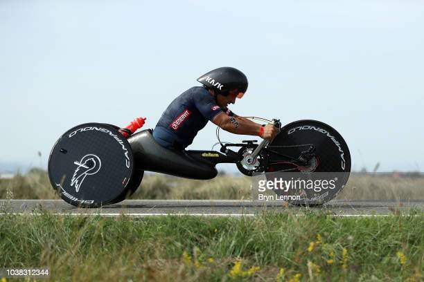 Racing driver Alessandro Zanardi of Italy competes in IRONMAN Emilia Romagna on September 21 2018 in Cervia Italy