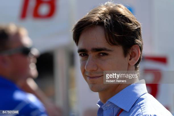 Racing driver Esteban Gutierrez of Mexico looks on during practice for the GoPro Grand Prix of Sonoma at Sonoma Raceway on September 15 2017 in...