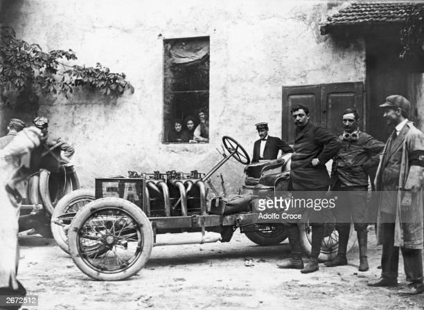 Racing driver finishes the Coppa de Velocite race at Brescia, Lombardy, in his Darracq motor car.