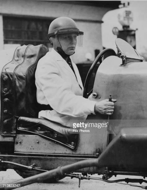 Racing driver Gwenda Hawkes sits aboard the DerbyMiller 1500cc Class racing car during practice for the Campbell Trophy Grand Prix held at the...