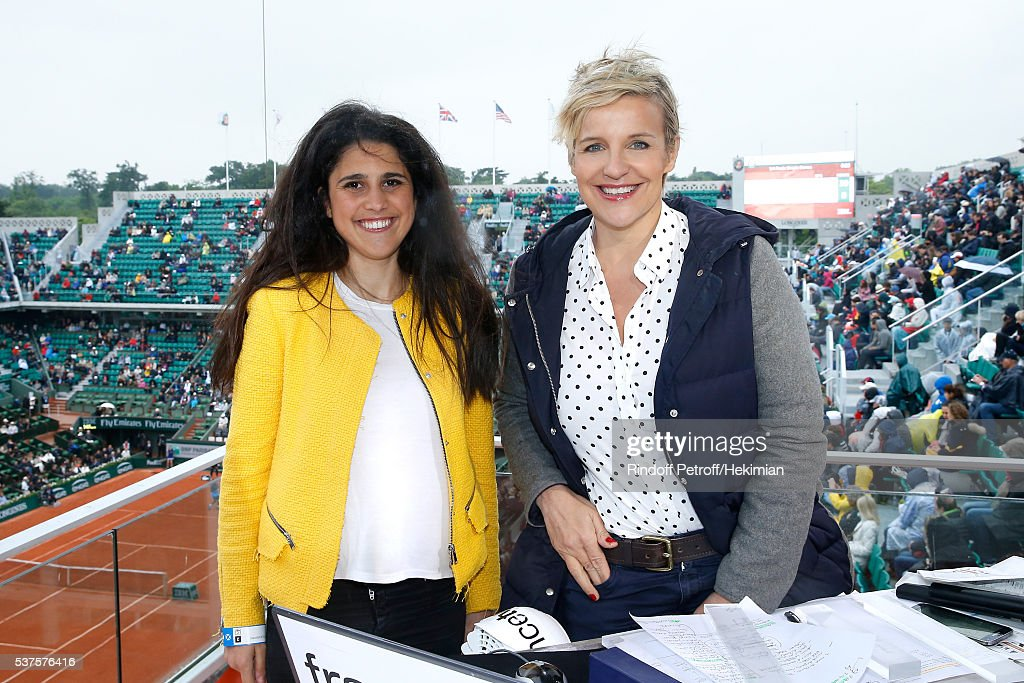 Racing driver Ines Taittinger, she will participate at the '24 heures du Mans 2016' race in the Pegasus Team, and Sports journalist Celine Geraud pose at France Television french chanel studio during Day Twelve of the 2016 French Tennis Open at Roland Garros on June 2, 2016 in Paris, France.
