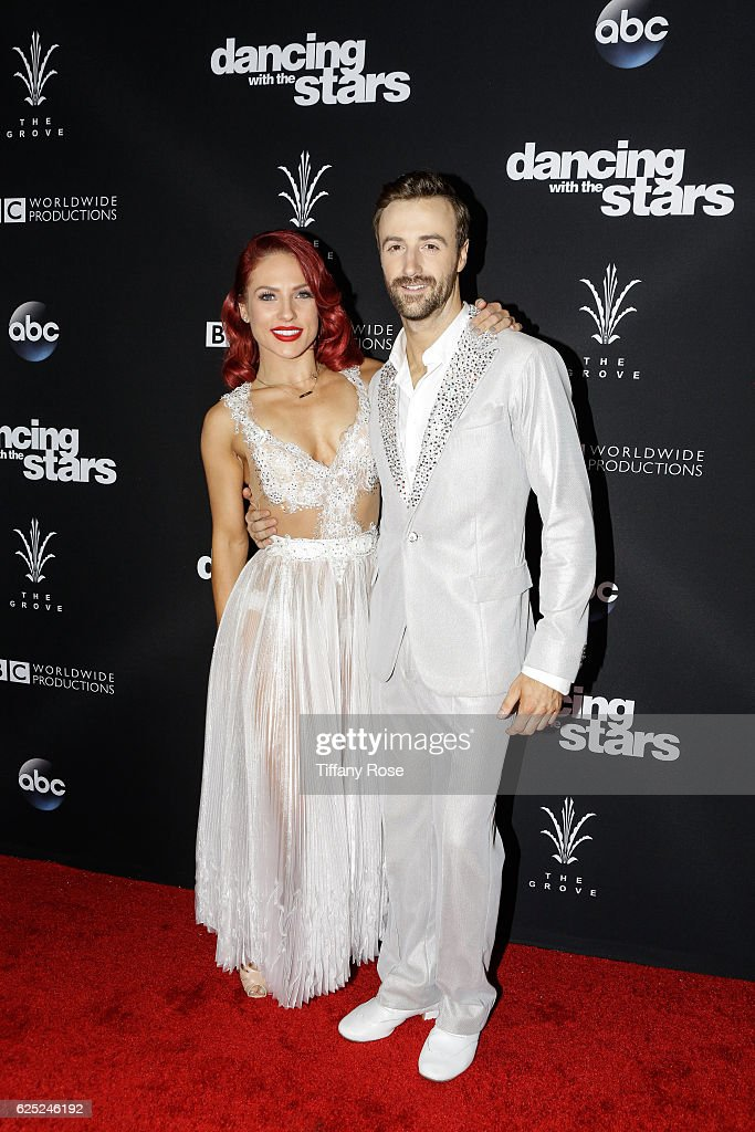 Racing driver James Hinchcliffe and dancer Sharna Burgess attend the 'Dancing With The Stars' live finale at The Grove on November 22, 2016 in Los Angeles, California.