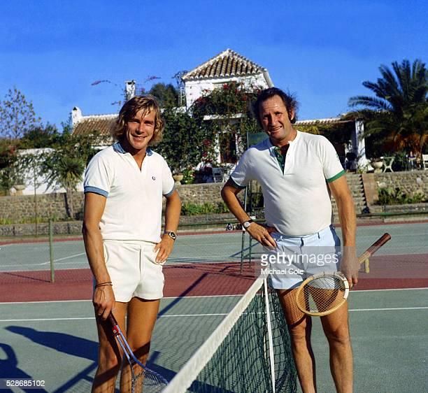 Racing Driver James Hunt & Abe Segal at Lew Hoad's 'Campo De Tenis' in Mijas, Spain December 1974