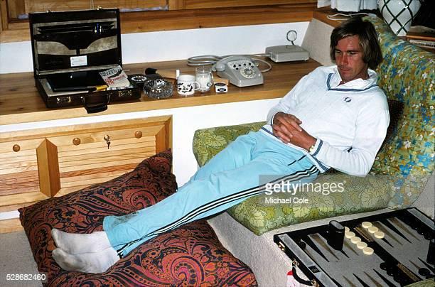Racing Driver James Hunt relaxing at home in Spain Feb 1979