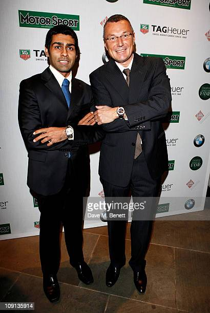 Racing driver Karun Chandhok and TAG Heuer SA CEO JeanChristophe Babin attend the Motor Sport Hall of Fame 2011 in association with TAG Heuer...