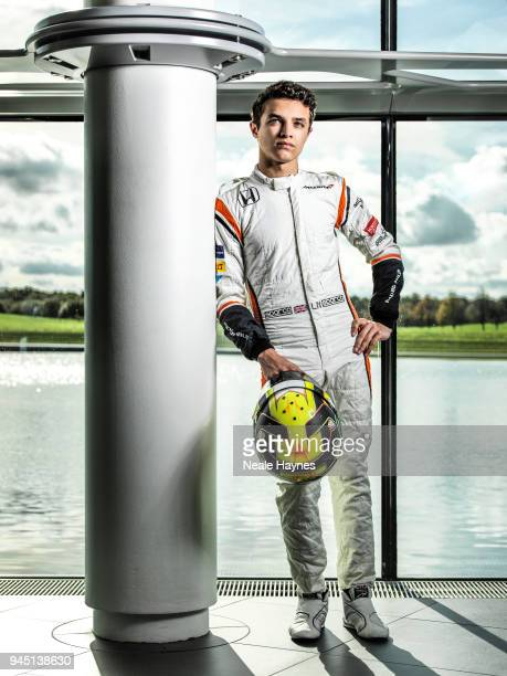Racing driver Lando Norris is photographed for F1 racing magazine on October 25 2017 in Woking England