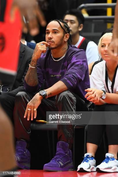 Racing Driver Lewis Hamilton attends the 2019 NBA Japan Game between the Toronto Raptors and the Houston Rockets on October 8 2019 at Saitama Super...