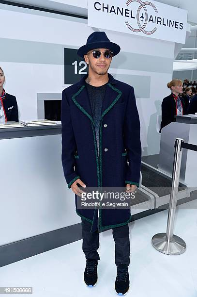 F1 racing driver Lewis Hamilton attends the Chanel show as part of the Paris Fashion Week Womenswear Spring/Summer 2016 on October 6 2015 in Paris...
