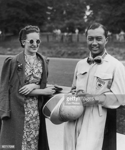 Racing driver Prince Bira of Siam with his fiancee Ceril Heycock 27th November 1937