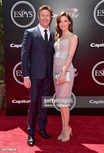 Racing driver Scott Dixon and Emma Davies attend the 2016 ESPYS at Microsoft Theater on July 13 2016 in Los Angeles California