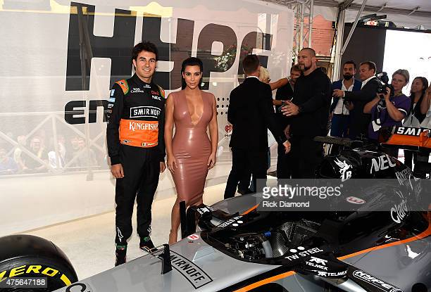 Racing Driver Sergio Pérez and Kim Kardashian West attend the Hype Energy Drinks US Launch on June 2 2015 in Nashville Tennessee