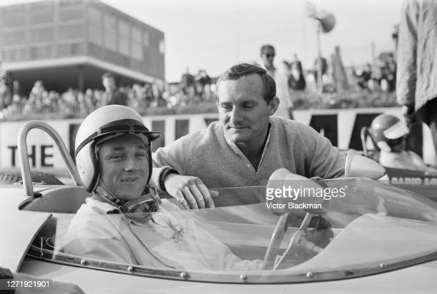 Racing drivers Bill Ivy and Mike Hailwood at Brands Hatch, England, 3rd October 1965.