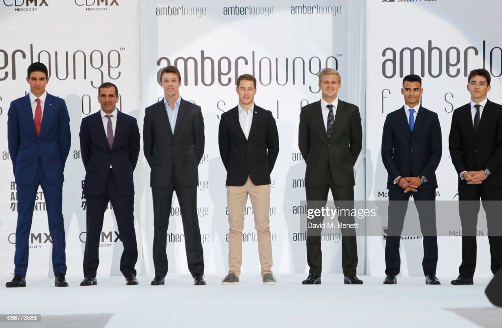 Racing drivers Esteban Ocon, Marc Gene, Daniil Kvyat, Stoffel Vandoorne, Marcus Ericsson, Pascal Wehrlein and Charles Leclerc attend the Amber Lounge Fashion Monaco 2017 at Le Meridien Beach Plaza Hotel on May 26, 2017 in Monaco, Monaco.