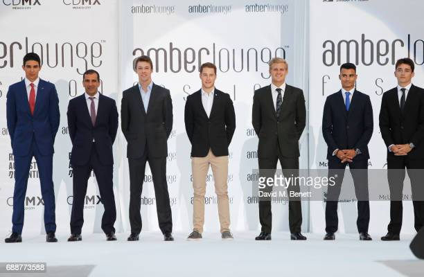 Racing drivers Esteban Ocon Marc Gene Daniil Kvyat Stoffel Vandoorne Marcus Ericsson Pascal Wehrlein and Charles Leclerc attend the Amber Lounge...