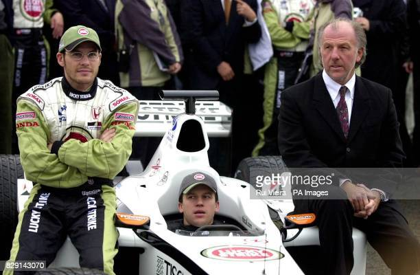 Racing drivers Jacques Villeneuve Olivier Panis and Managing Director David Richards during the launch of the British American Racing Formula One...