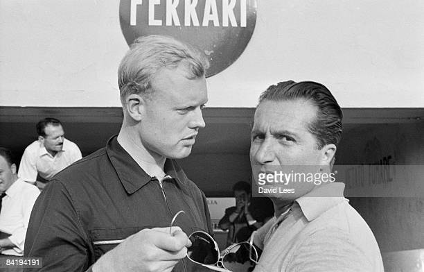 Racing drivers Mike Hawthorn of Britain and Alberto Ascari of Italy at Monza for the Italian Grand Prix 5th September 1954 Both drive for the Ferrari...