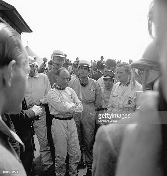 Racing drivers Stirling Moss and Jack Brabham at Silverstone 1958