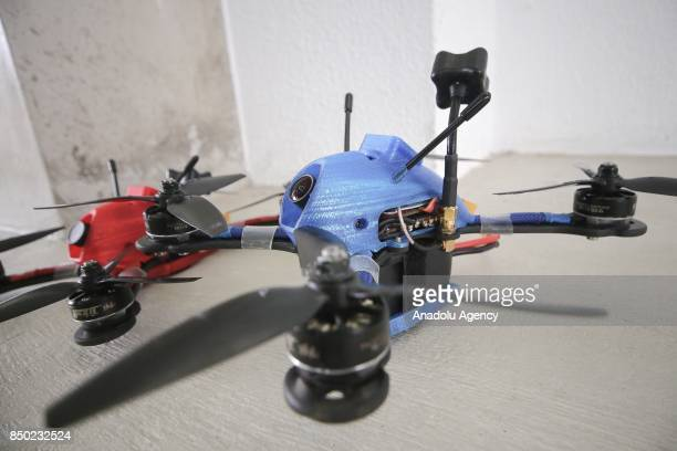 Racing drones are seen prior to the Player 1 Drone League competition which brings the Brazilian Champions together at the Federal Institute of...