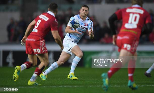 Racing fly half Finn Russell in action during the Champions Cup match between Scarlets and Racing 92 at Parc y Scarlets on October 13 2018 in...