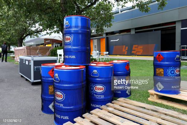 Racing fuel barrels are seen in the Paddock before practice for the F1 Grand Prix of Australia at Melbourne Grand Prix Circuit on March 13, 2020 in...