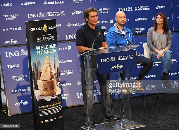 Racing great Alex Zanaradi Joe Bastianich and Elisabetta Serraiotto attend the Grana Padano Events NYC MArathon Events on October 31 2013 in New York...
