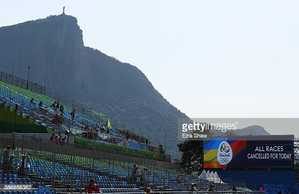 Racing is cancelled for the day at the Lagoa Stadium on Day 2 of the Rio 2016 Olympic Games on August 7 2016 in Rio de Janeiro Brazil