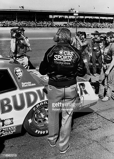 Racing magazine publisher and CBS Television NASCAR announcer Chris Economaki broadcasts prior to the start of the 1985 Daytona 500 on February 17...