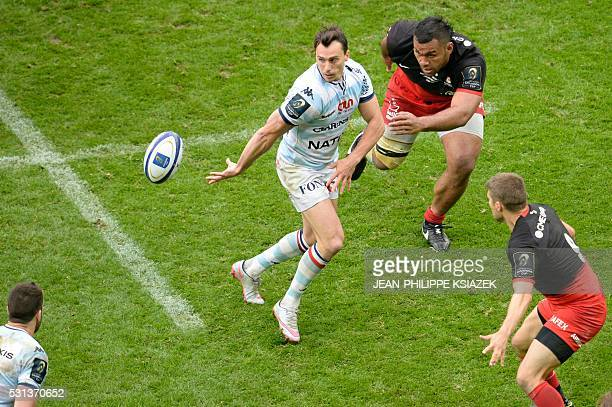 Racing Metro's Juan Imhoff passes the ball during the European Rugby Champions Cup match beetween Racing Metro 92 and Saracens FC at the Parc...