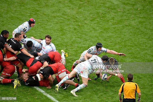 Racing Metro's Mike Philips vies for the ball during the European Rugby Champions Cup match beetween Racing Metro 92 and Saracens FC at the Parc...