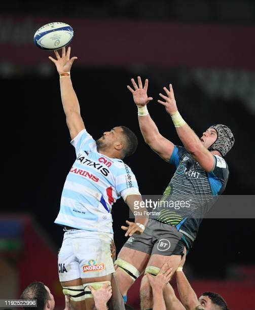 Racing player Boris Palu wins a lineout ball from Dan Lydiate of the Ospreys during the Heineken Champions Cup Round 3 match between Ospreys and...