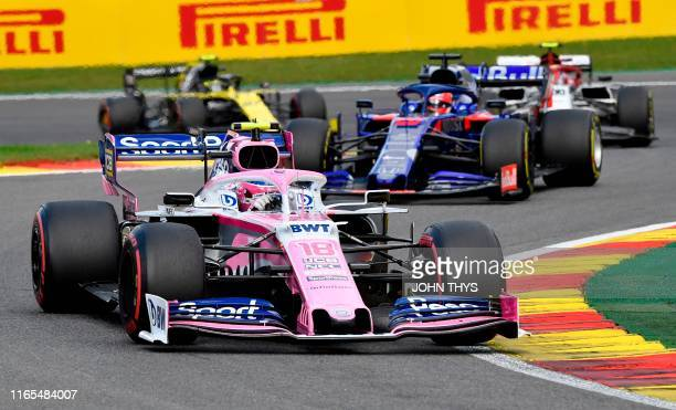 Racing Point's Canadian driver Lance Stroll competes during the Belgian Formula One Grand Prix at the SpaFrancorchamps circuit in Spa on September 1...