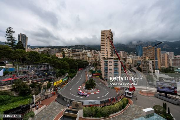 Racing Point's Canadian driver Lance Stroll drives during the first practice session at the Monaco street circuit on May 23, 2019 in Monaco, ahead of...