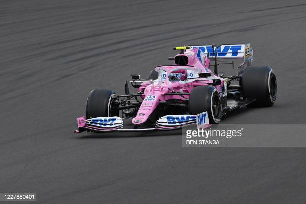 Racing Point's Canadian driver Lance Stroll drives during the Formula One British Grand Prix at the Silverstone motor racing circuit in Silverstone,...