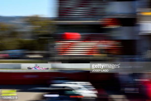 Racing Point's Canadian driver Lance Stroll takes part in the tests for the new Formula One Grand Prix season at the Circuit de Catalunya in Montmelo...