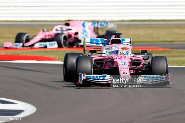Racing Point's German driver Nico Hulkenberg leads his teammate Racing Point's Canadian driver Lance Stroll during the F1 70th Anniversary Grand Prix...