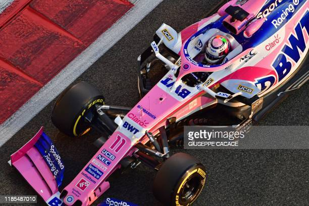 Racing Point's Mexican driver Sergio Perez steers his car during the second practice session on November 29 at the Yas Marina Circuit in Abu Dhabi,...