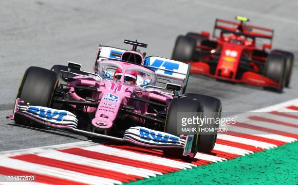 Racing Point's Mexican driver Sergio Perez steers his car during the Austrian Formula One Grand Prix race on July 5, 2020 in Spielberg, Austria.