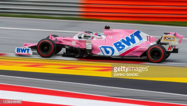 Racing Point's Mexican driver Sergio Perez steers his car during the Formula One Styrian Grand Prix race on July 12, 2020 in Spielberg, Austria.