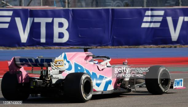 Racing Point's Mexican driver Sergio Perez steers his car during the Formula One Russian Grand Prix at the Sochi Autodrom Circuit in Sochi on...