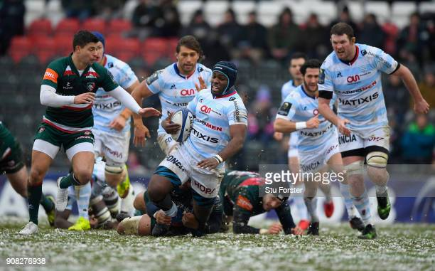 Racing prop Eddy Ben Arous on the charge during the European Rugby Champions Cup match between Leicester Tigers and Racing 92 at Welford Road on...