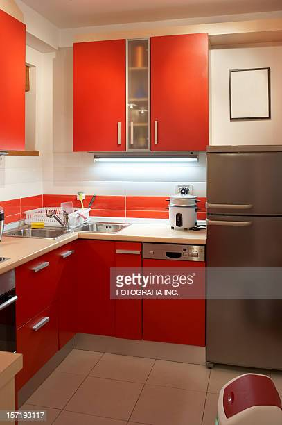racing red kitchen - nook architecture stock pictures, royalty-free photos & images