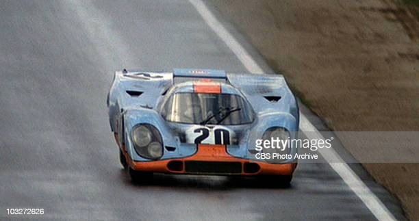 A racing scene from the movie 'Le Mans' 1971 Shown is car number 20 a 1970 Porsche 917 K Image is a frame grab