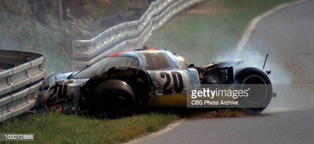 A racing scene from the movie 'Le Mans' 1971 Shown is car number 20 a 1970 Porsche 917 K just after Steve McQueen's character Michael Delaney crashes...