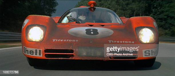 A racing scene from the movie 'Le Mans' 1971 Shown is car number 8 a 1970 Ferrari 512 S Image is a frame grab