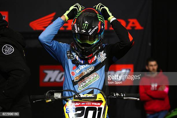JPM Racing Suzuki's rider Cedric SOUBEYRAS of France during the Supercross of Paris Lille on November 12 2016 in Lille France