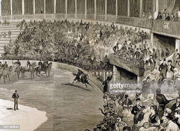 Racing tapes held in honor of King Alfonso XII, Seville bullring, December 29 Engraving by John Comba.
