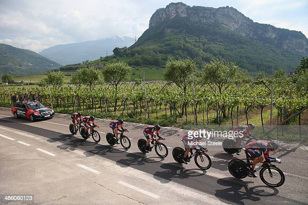 Racing Team on their way to winning the 134km team time trial from Riva del Garda to Arco on stage one of the Giro del Trentino on April 22 2014 in...