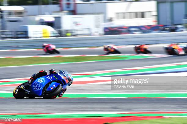 SKY Racing Team VR46s Italian rider Francesco Bagnaia leads during the Moto2 race of the San Marino Grand Prix at the Marco Simoncelli Circuit in...